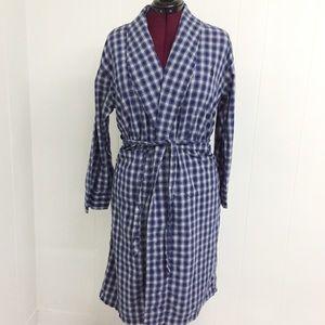 S / M NAUTICA Blue and White Plaid Cotton Robe